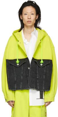 Doublet Black and Yellow Denim Silk Duck Jacket