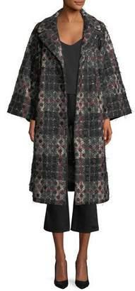 Co Dot-Jacquard Plaid Knit Swing Coat w/ Frayed Threads