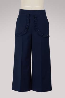 RED Valentino Wide-leg cropped ruffled pants