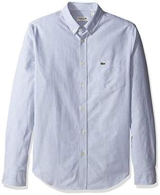 Lacoste Men's Long Sleeve Reg Fit Oxford Bengal Stripe Woven Shirt