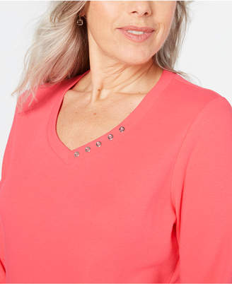 Karen Scott Plus Size Cotton Top