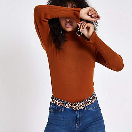 Womens Brown turtle neck long sleeve jumper