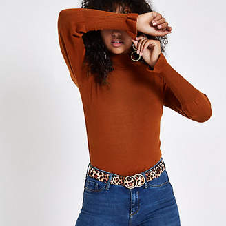 River Island Brown turtle neck long sleeve sweater