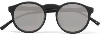 Le Specs - Cubanos Round-frame Rubber Sunglasses - Black $70 thestylecure.com