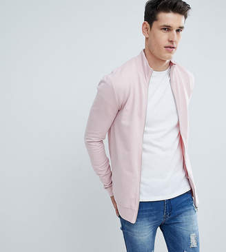 Asos DESIGN tall muscle jersey track jacket in pink