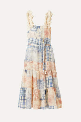 Tory Burch Tasseled Patchwork Printed Linen Maxi Dress - Sky blue