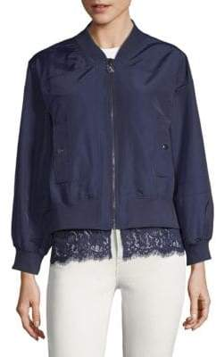 Laundry by Shelli Segal Lace-Trim Bomber Jacket