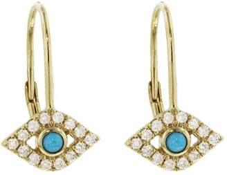 Sydney Evan Bezel Evil Eye Drop Earrings