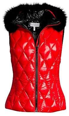 Escada Sport Women's Mylira Removable Fox-Fur Collar Quilted Puffer Vest