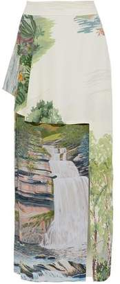 Stella McCartney Layered Printed Crepe De Chine Maxi Skirt