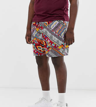 New Look Plus shorts in aztec print