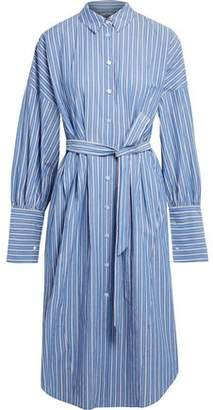 Tibi Belted Striped Cotton-Poplin Shirt Dress