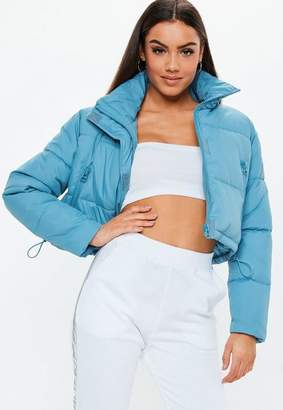 Missguided Blue Crop Oversized Puffer Jacket