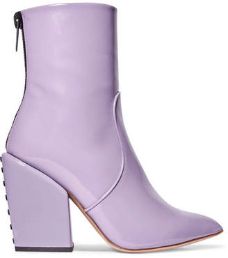 Petar Petrov Solar Patent-leather Ankle Boots - Lilac