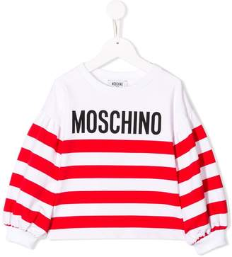 Moschino Kids logo striped sweatshirt