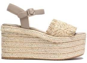 Paloma Barceló Fringe-trimmed Woven Leather Platform Espadrille Sandals
