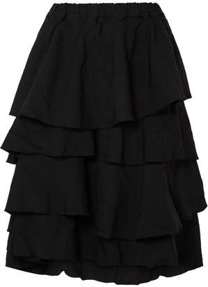Comme des Garcons Tiered Twill Midi Skirt - Black