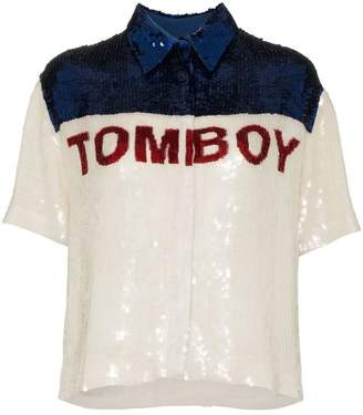 Filles a papa Tomboy sequinned button-down shirt