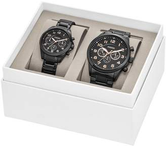Fossil His And Her Chronograph Black Stainless Steel Watch Gift Set Jewelry SET