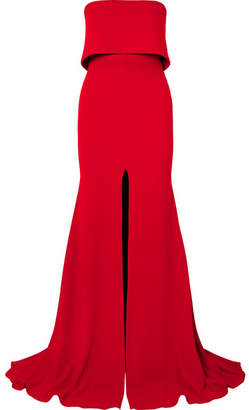 Alex Perry Strapless Split-front Crepe Gown - Red