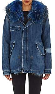 Mr & Mrs Italy Women's Fur-Trimmed & -Lined Denim Parka-Denim, Bright blue