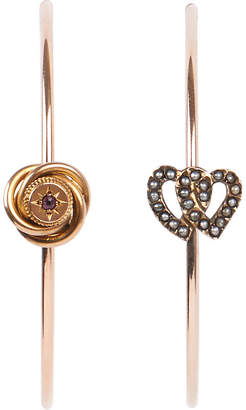 Annina Vogel 9 carat gold, pearl and ruby heart hoop earrings