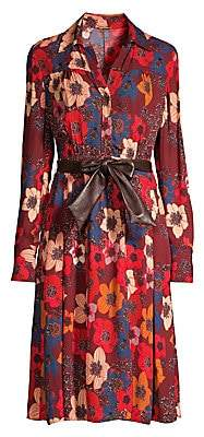Elie Tahari Women's Brinx Belted Floral Shirtdress