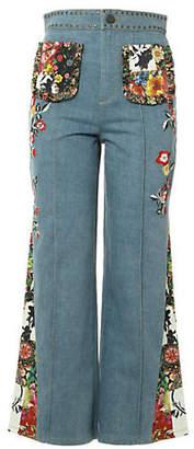 Alice + Olivia (アリス オリビア) - Alice+olivia Reina Embroidery Ankle Pant Godet