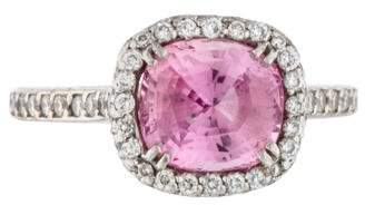 Ring Platinum Pink Sapphire & Diamond Cocktail