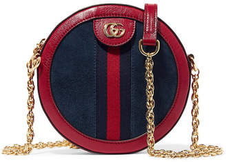 Gucci Ophidia Mini Leather-trimmed Suede Shoulder Bag - Navy