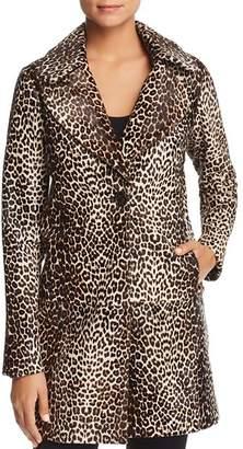 Elie Tahari Jaya Leopard Print Calf Hair Coat