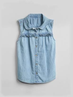 Gap Denim Ruffle Sleeveless Top