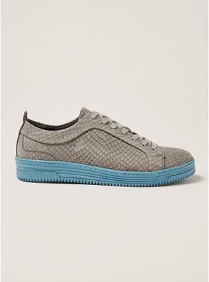Topman Mens Grey Gray Nubuck Croc Drape Sneakers