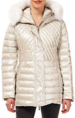 Gorski Zip-Front Quilted Puffer Apres Ski Jacket w/ Detachable Fox Hood Trim