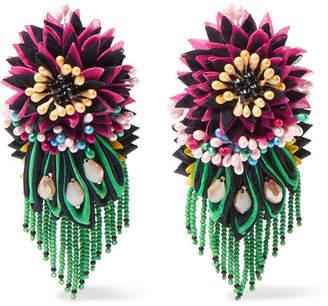 Crystal, Bead And Felt Clip Earrings - Pink