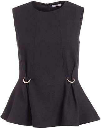 Wolf & Badger Fokine Black Sleeveless Peplum Top