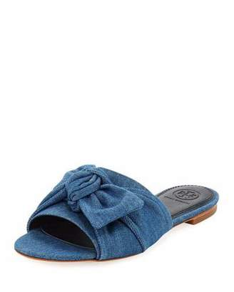 Tory Burch Annabelle Flat Denim Bow Slide Sandal