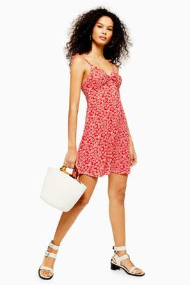 Topshop Womens Ditsy Twist Front Dress - Red