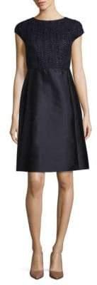 Lafayette 148 New York Hillany Mixed Media A-Line Dress