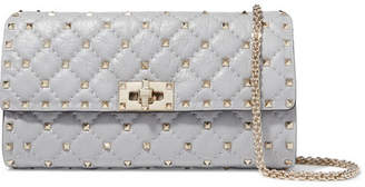 Valentino Garavani The Rockstud Spike Quilted Leather Shoulder Bag - Gray