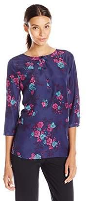 Lark & Ro Women's Three Quarter Sleeve Printed Popover Top