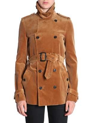 Saint Laurent Ribbed Velvet Trench Coat