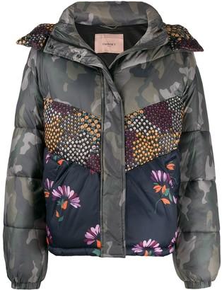Twin-Set mixed print puffer jacket