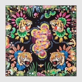 Gucci Tigers and Kingsnake print silk scarf