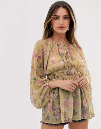 Asos Design DESIGN long sleeve sheer smock top in vintage floral print