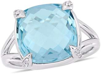 Concerto Silver Gemstone Sterling Silver Solitaire Ring with Blue and White Topaz