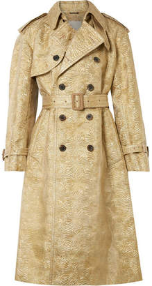 Maison Margiela Metallic Brocade And Organza Trench Coat - Gold