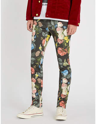 PROFOUND AESTHETIC Floral-print slim-fit skinny jeans