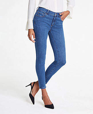 Ann Taylor Performance Stretch Skinny Jeans In Classic Blue Wash
