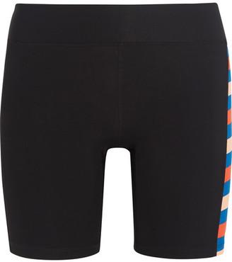 P.E Nation - Joust Striped Stretch-jersey Shorts - Black $100 thestylecure.com